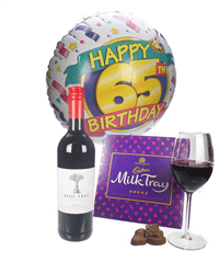 Red Wine And Chocolates 65th Birthday Gift