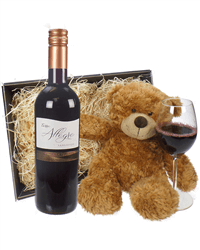 Italian Sangiovese Red Wine and Teddy Bear Gift Basket