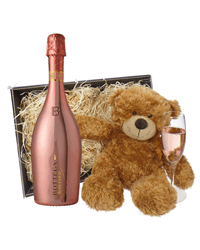 Botegga Rose Gold Prosecco And Teddy Bear Gift