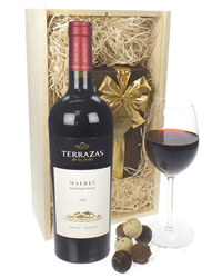 Terrazas Reserva Malbec Wine and Chocolates Gift Set in Wooden Box