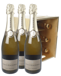 Louis Roederer Champagne Six Bottle Wooden Crate