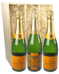 Veuve Clicquot NV and Vintage Three Bottle Champagne Gift in Wooden Box