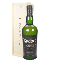 Ardbeg 10 Year Old Single Malt Whisky Thank You Gift In Wooden Box