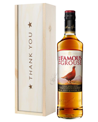 Famous Grouse Whisky Thank You Gift In Wooden Box