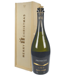 Casa Defra Prosecco Frizzante Single Bottle Christmas Gift In Wooden Box