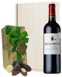 French Bordeaux Red Wine and Chocolates Gift Set in Wooden Box