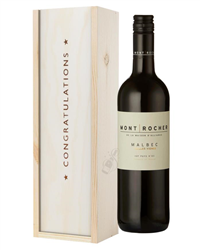 French Malbec Red Wine Congratulations Gift In Wooden Box