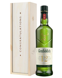 Glenfiddich 12 Year Old Single Malt Whisky Congratulations Gift In Wooden Box