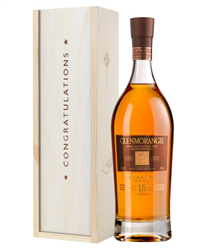 Glenmorangie 18 Year Old Single Malt Whisky Congratulations Gift In Wooden Box