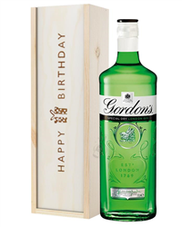 Gordons Gin Birthday Gift In Wooden Box