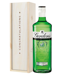 Gordons Gin Congratulations Gift In Wooden Box