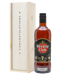 Havana Club 7 Year Old Rum Congratulations Gift In Wooden Box
