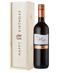 Italian Sangiovese Wine Birthday Gift In Wooden Box
