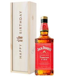 Jack Daniels Fire Whiskey Birthday Gift In Wooden Box