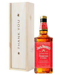 Jack Daniels Fire Whiskey Thank You Gift In Wooden Box