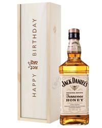Jack Daniels Honey Whiskey Birthday Gift In Wooden Box