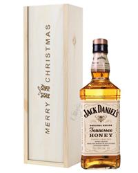 Jack Daniels Honey Whiskey Christmas Gift In Wooden Box