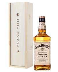 Jack Daniels Honey Whiskey Thank You Gift In Wooden Box