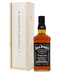 Jack Daniels Tennesse Whiskey Congratulations Gift In Wooden Box