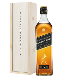 Johnnie Walker Black Label Whisky Congratulations Gift In Wooden Box