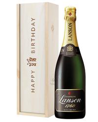 Lanson Champagne Birthday Gift In Wooden Box