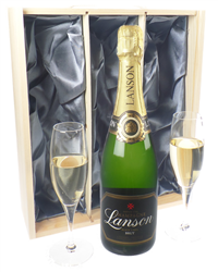Lanson Champagne Gift Set With Flut...