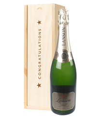 Lanson Gold Label Vintage Champagne Congratulations Gift In Wooden Box