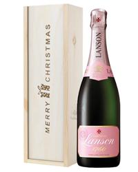 Lanson Rose Champagne Single Bottle Christmas Gift In Wooden Box