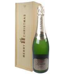 Lanson Vintage Champagne Single Bottle Christmas Gift In Wooden Box