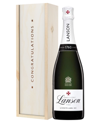 Lanson White Label Champagne Congratulations Gift In Wooden Box