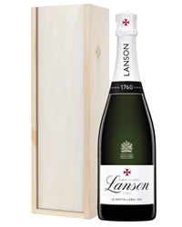 Lanson White Label Champagne Gift in Wooden Box