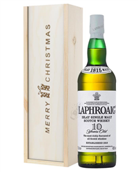 Laphroaig 10 Single Malt Whisky Christmas Gift In Wooden Box