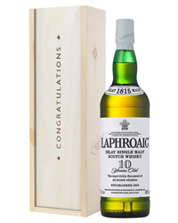 Laphroaig 10 Single Malt Whisky Congratulations Gift In Wooden Box