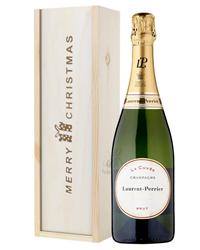 Laurent Perrier Champagne Single Bottle Christmas Gift In Wooden Box