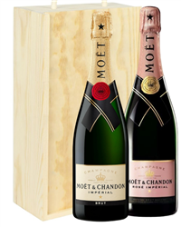 Moet And Moet Rose Two Bottle Champ...
