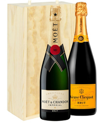 Moet And Veuve Two Bottle Champagne...