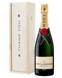 Moet et Chandon Champagne Thank You Gift In Wooden Box
