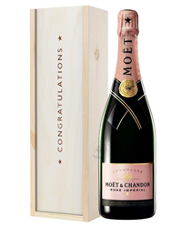 Moet et Chandon NV Rose Champagne Congratulations Gift In Wooden Box