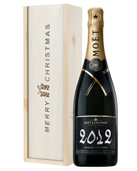 Moet et Chandon Vintage Single Bottle Christmas Gift in Wooden Box
