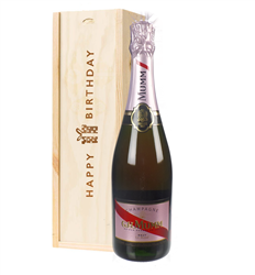 Mumm Rose Champagne Birthday Gift In Wooden Box