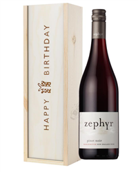 New Zealand Pinot Noir Red Wine Birthday Gift In Wooden Box