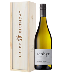 New Zealand Sauvignon Blanc White Wine Birthday Gift In Wooden Box