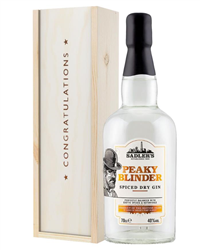 Peaky Blinder Spiced Dry Gin Congratulations Gift In Wooden Box