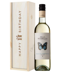 Pinot Grigio White Wine Birthday Gift In Wooden Box