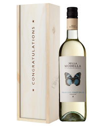 Pinot Grigio White Wine Congratulations Gift In Wooden Box