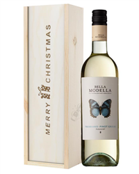 Pinot Grigio White Wine Single Bottle Christmas Gift In Wooden Box