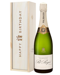 Pol Roger Champagne Birthday Gift In Wooden Box