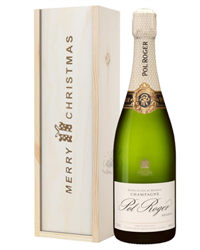 Pol Roger Champagne Single Bottle Christmas Gift In Wooden Box