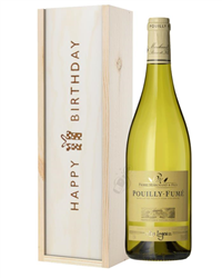 Pouilly Fume White Wine Birthday Gift In Wooden Box