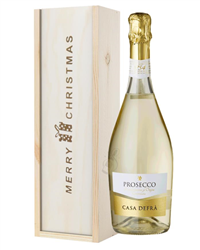 Prosecco Spumante Single Bottle Christmas Gift In Wooden Box
